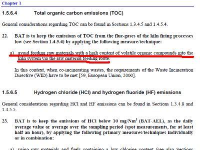 Dokument BREF iz maja 2010 govori o izogibanju surovini z veliko hlapnih organskih spojin