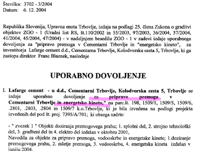 Uporabno dovoljenje iz leta 2004